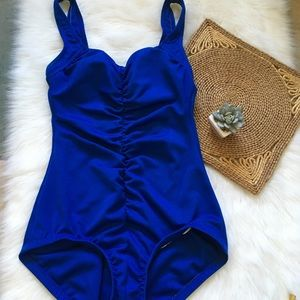 Vintage Blue One Piece Ruched Swimsuit